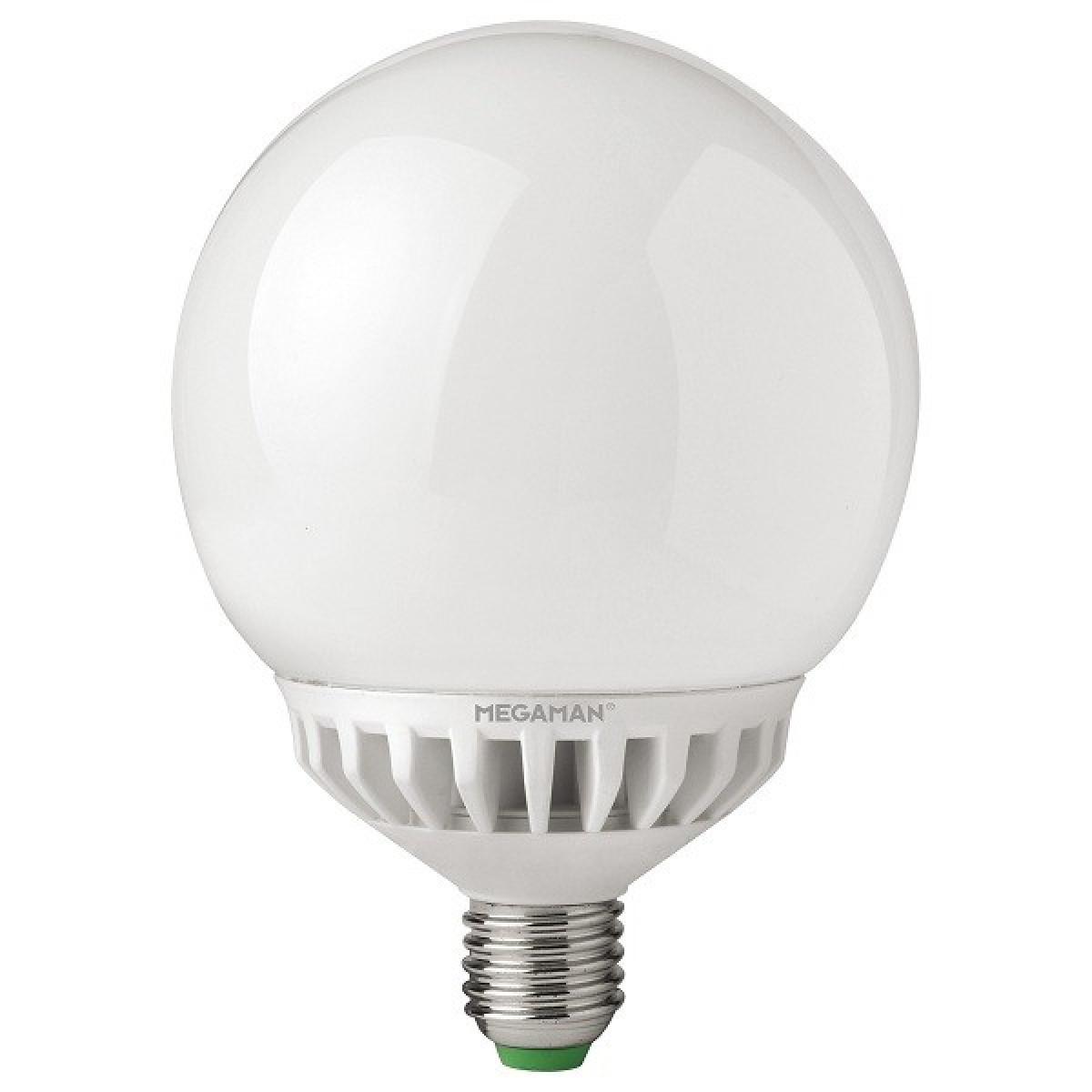 Producent MegamanKoncept Stor LED globepære, som kan dæmpes.  Den har 420lm, hvilket svarer til ca. 25-40W. Den har et varmt lys med 2800 kelvin og en RA værdi på 80.  Hvis du har det lidt svært med det, med pærer, kommer der her en lille kort forklaring om de vigtigste ting, du skal være opmærksom på.  I dag bliver lysstyrken målt på lumen i stedet for watt. Du kan nogenlunde gå ud fra nedenstående.  15W = 140 lumen  25W = 250 lumen  40W = 470 lumen  60W = 800 lumen  75W = 1050 lumen  100W = 1520 lumen Derudover kan man også se på en pære, at der er oplyst en RA eller CRI værdi. Det er lysets evne til at gengive farver og det vurderes på en skala fra 0-100 RA.  100 RA giver den bedste farvegengivelse og det er det, man får fra dagslys.  Til et almindeligt hjem, skal man vælge pærer med en RA værdi på mere end 80.  Der vil også være oplyst en kelvingrad. Dette er lysets farve. En pære med en kelvingrad på 2.700 - 3.000 har et varmt lys.  4.000-4.5000 giver et neutral til køligt lys og