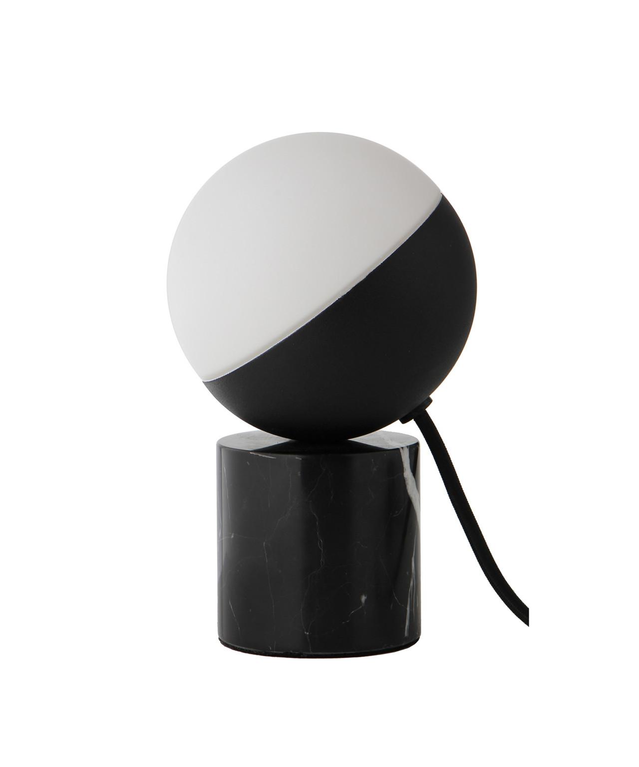 Image of   Fabian Mini Bordlampe Mat Sort/Sort Marmor/Opal Hvid - Frandsen