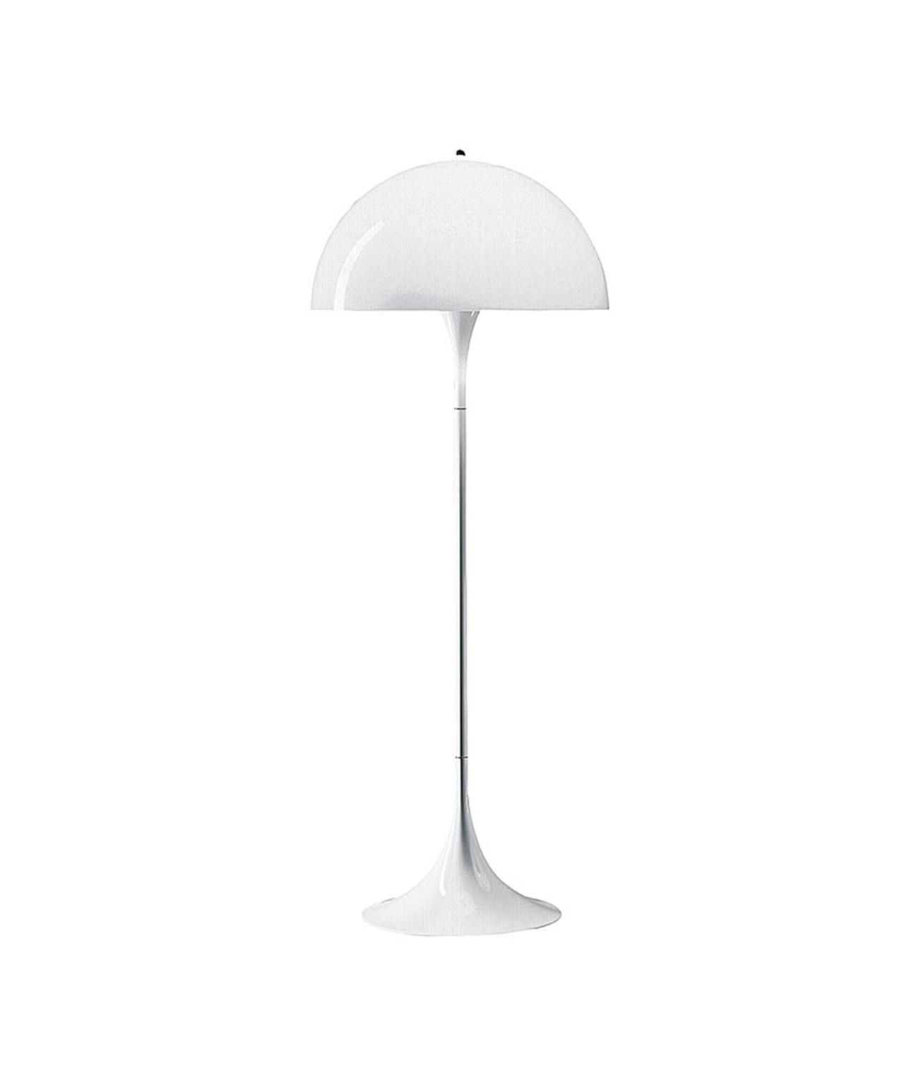 DesignVerner Panton for Louis Poulsen  Koncept Panthella bord- og gulvlampe er designet af Verner Panton i 1971 og er stadig en af hans mest populære lamper. Lampens organiske form, ligesom de mange stærke farver, lampen oprindeligt blev lanceret i, er typisk for Verner Pantons design. Verner Panton ønskede at skabe en lampe, hvor både foden og skærmen fungerer som en lysreflektor. Tidligere blev lampen produceret i flere farver. I dag fås den i hvid. Super klassisk lampe som stadig holder sig ung og tidsløs, en lampe der stadig er meget populær. Lampen er designet i 1971 hvor fod og skærm er skabt så de begge reflekterer lyset. Her kan den gamle sætning om form der møder funktion virkeligt komme til sin ret. Panthella Gulv har en organisk og afbalanceret form designet af Verner Panton. Panthella gulvlampen giver et diffust og behageligt lys. Afbryderen er en on/off afbryder.