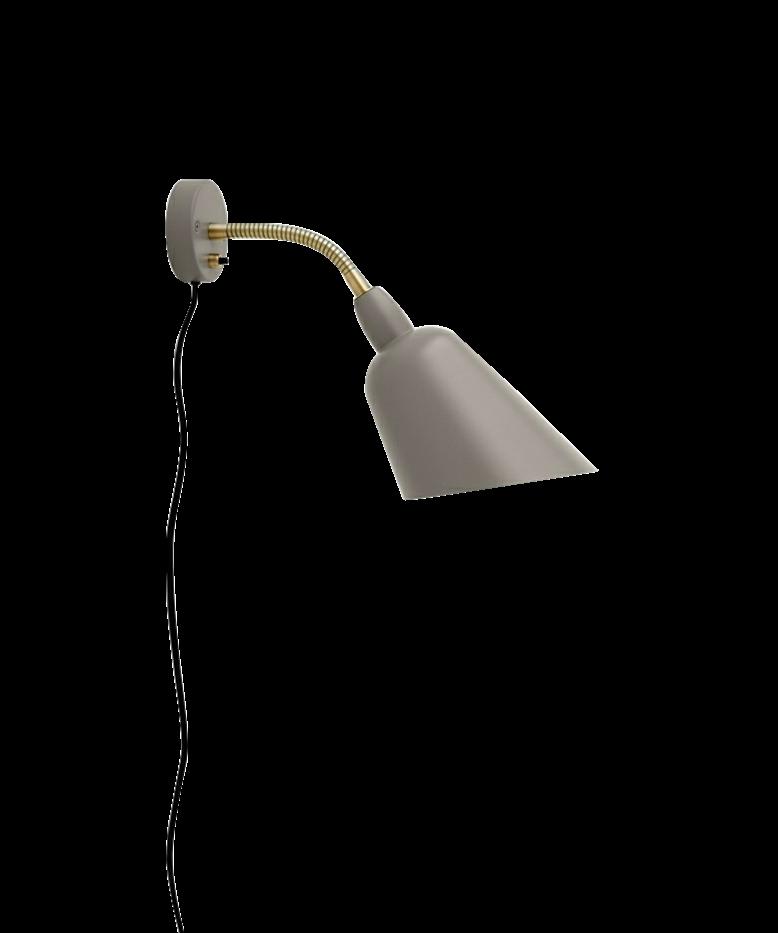 DesignArne Jacobsen for &tradition  Koncept Bellevue Væglampen er designet i 1929 af Arne Jacobsen som den første lampeserie fra mesterens hånd. Produktion og design er et pletskud fra Bauhaus perioden og skærmen med sin skæring på de 45 grader ses også gå igen på den berømte Bellevue benzinstation. Bellevue serien er nu tilgængelige i nye farver og materialer, som gør den endnu mere moderne. Her i en Grå Beige med Messing.