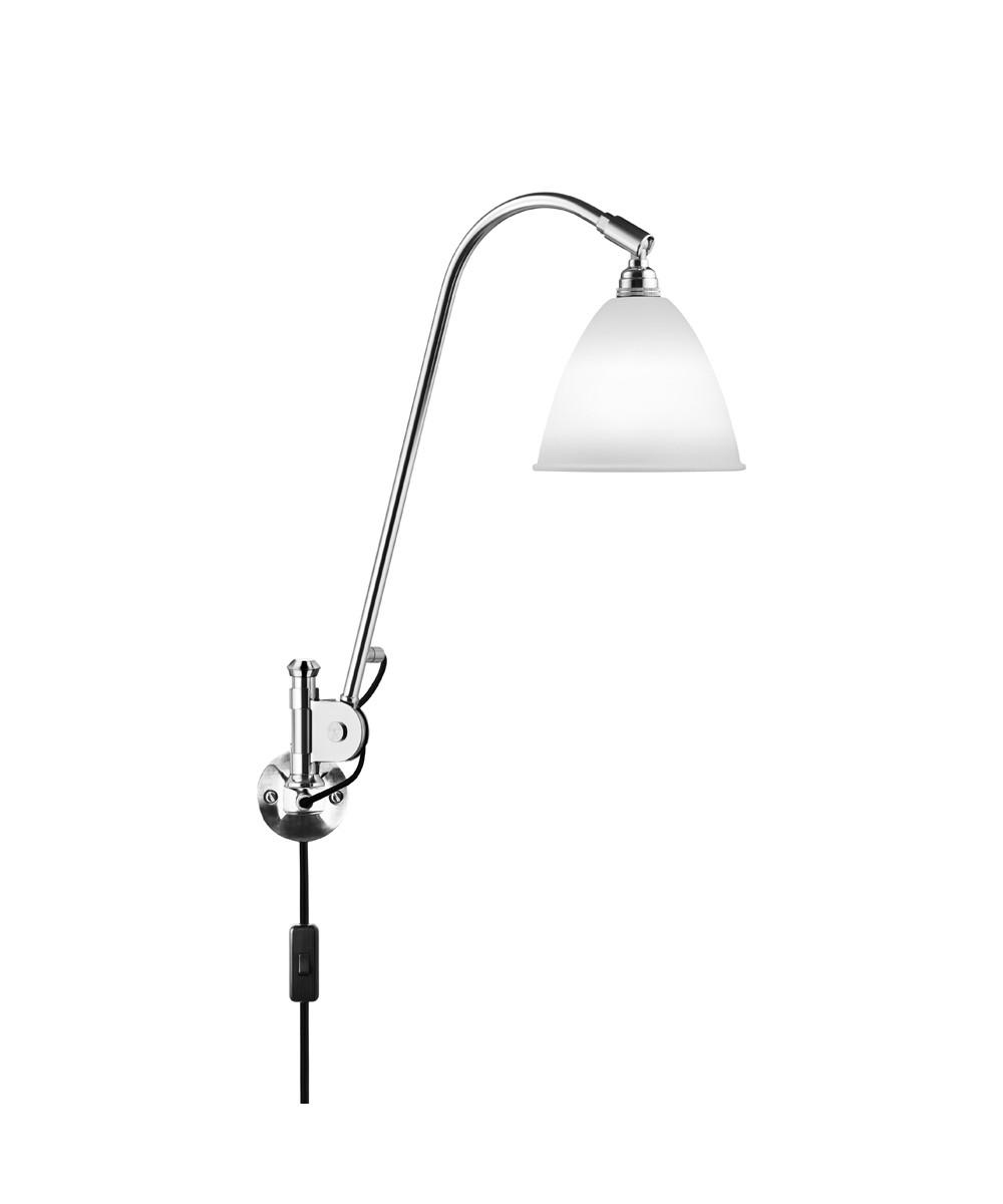 Væglampe Gubi - Bestlite BL6 V u00e6glampe u00d816 Krom Porcel u00e6n GUBI