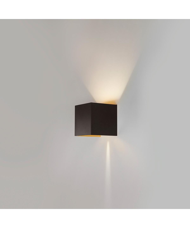 Box mini up/down væglampe sort/guld