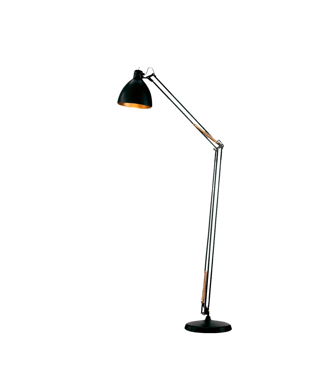 Design  Ronni Gol for Light Point  Koncept  Et designikon og et stykke historie, som spænder over generationer, hvor Archi F1 gulvlampe har oplyst alt fra arbejdsborde til læsehjørnet i hjemmet.  Archi F1 gulvlampe - her i sort/guld - kan også vælges i mat hvid og mat sort.  Derudover findes flere forskellige bordlamper at vælge imellem - samt væglamper, pendler og gulvlamper.  Archi F1 gulvlampen erstatter den tidligere JJ lampeserie. Samme høje kvalitet.