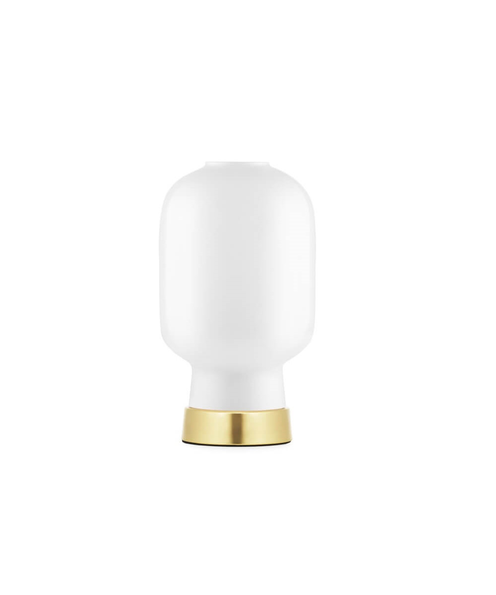 Amp bordlampe hvid/messing