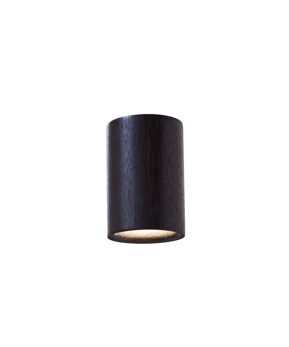 Solid downlight cylinder black stained oak