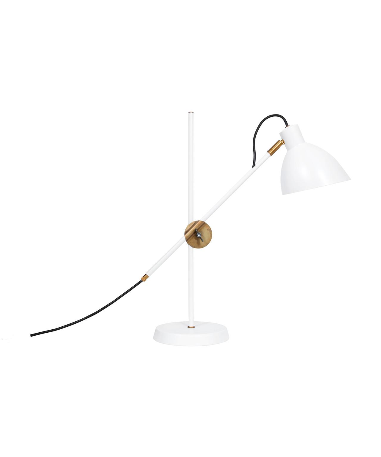 Kh#1 hvid/rå messing bordlampe