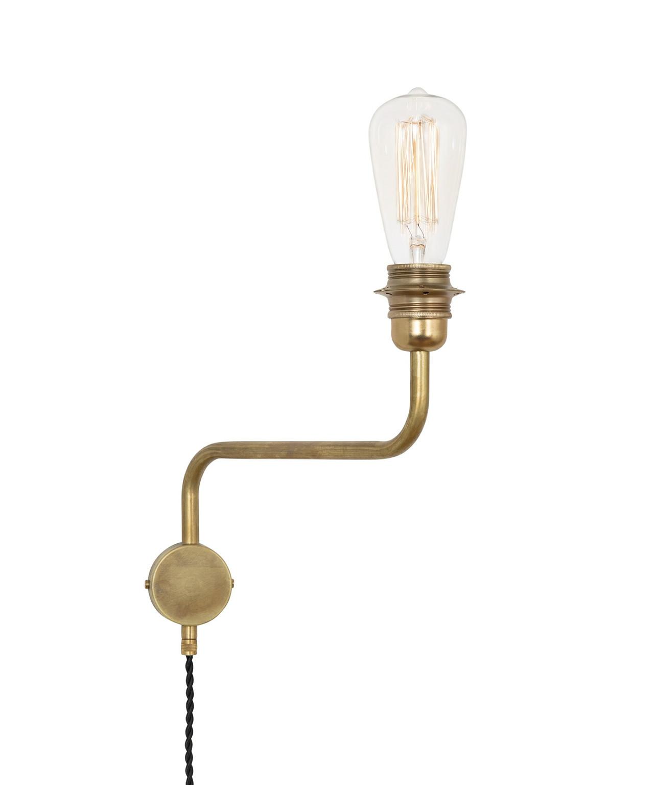 Edison væglampe up rå messing