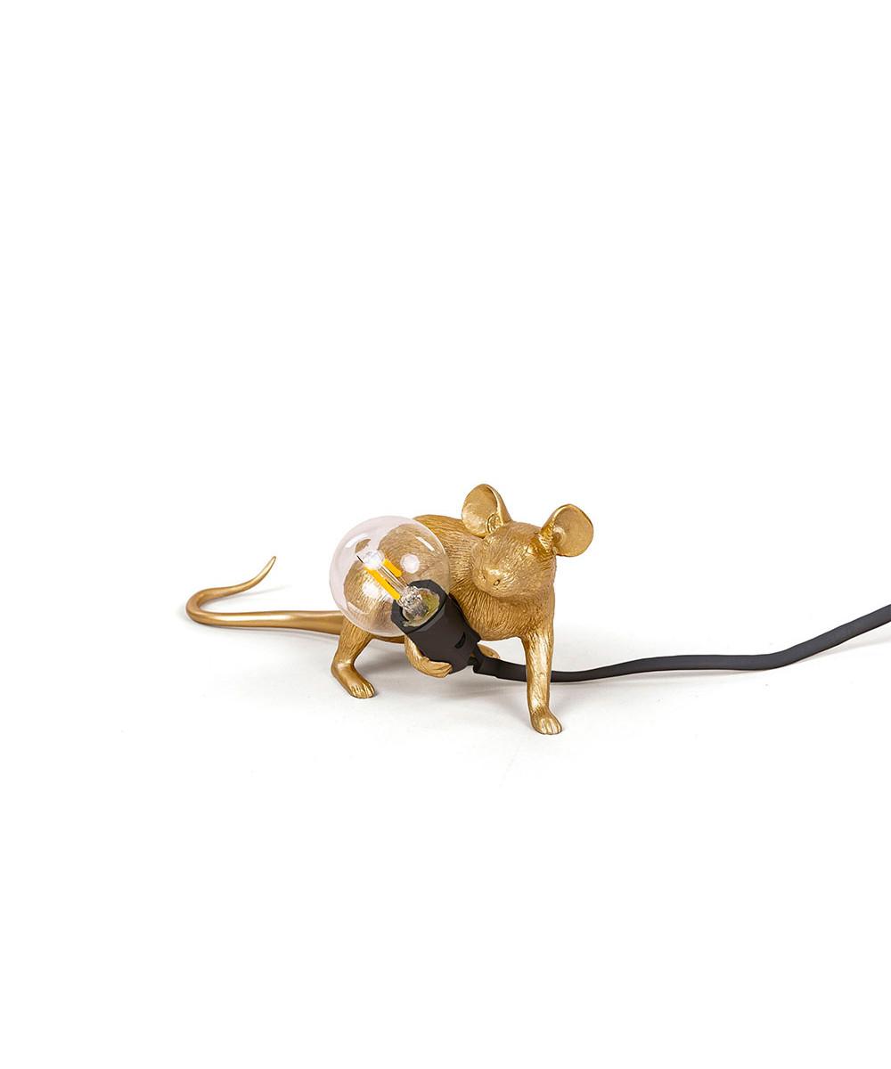 Mouse Lamp Lop Lying Down Bordlampe Guld - Seletti