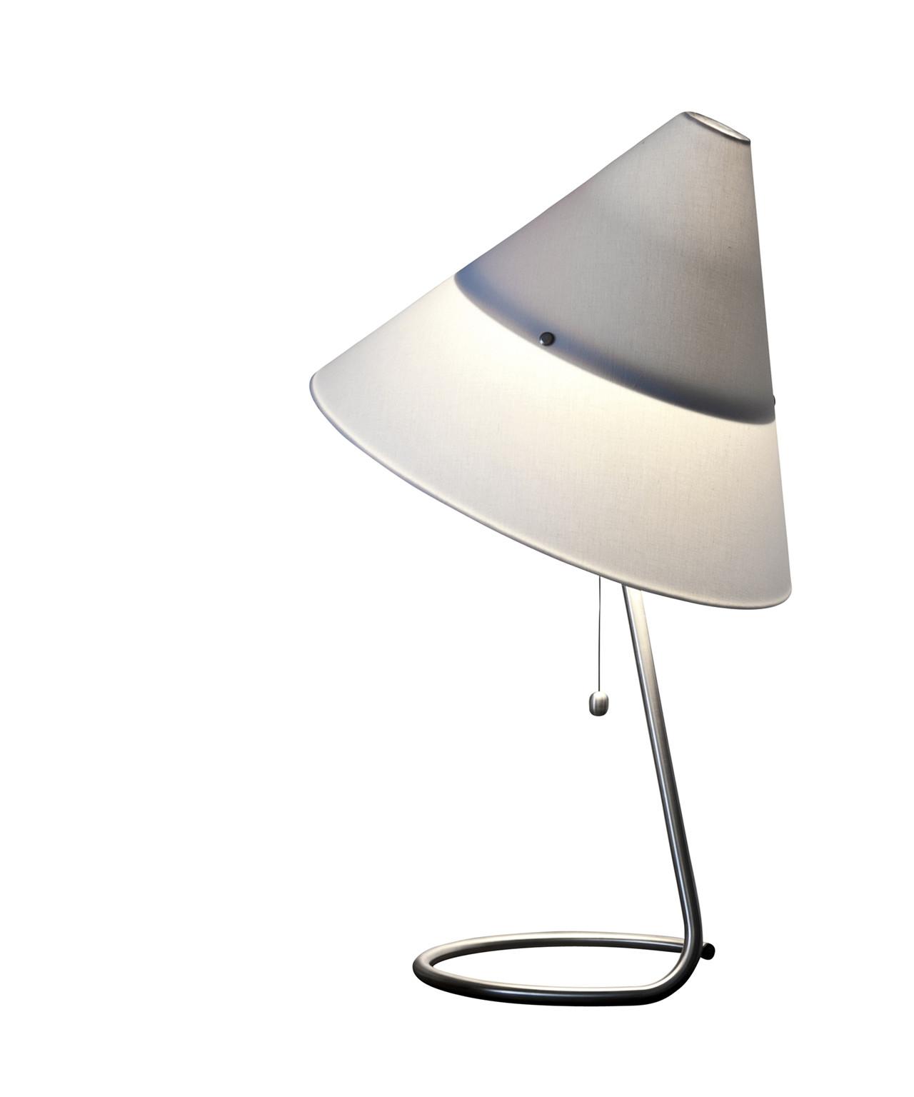 Design Piet Hein for Piet Hein KonceptFunco Bordlampen er over 80 år gammel, men designet er stadig up to date og populært.  Skærmen er af bomuld samt metal, og kan nemt drejes for at sprede lys i alle retninger. Stofledningen er sort og løber ud fra den rustfri stålfod, hvor den fortsætter linjeføringen.