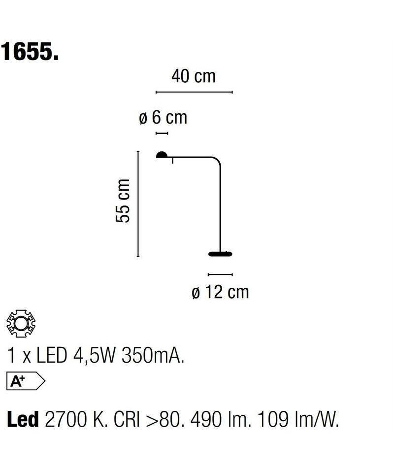 Pin bordlampe 1655 mat sort