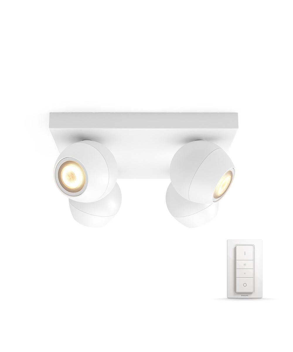 Buckram loftlampe plate/spiral hvid