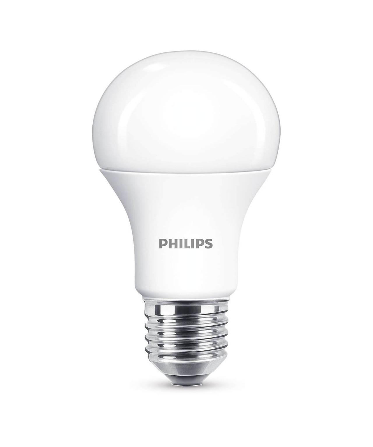 Producent PhilipsKoncept LED Spare Pære.  Den har 1055lm, hvilket svarer til ca. 75-100W. Den har et varmt lys med 2700 kelvin og en RA værdi på 80, hvilket betyder at den gengiver farverne i rummet optimalt.  Hvis du har det lidt svært med det, med pærer, kommer der her en lille kort forklaring om de vigtigste ting, du skal være opmærksom på.  I dag bliver lysstyrken målt på lumen i stedet for watt. Du kan nogenlunde gå ud fra nedenstående.  15W = 140 lumen  25W = 250 lumen  40W = 470 lumen  60W = 800 lumen  75W = 1050 lumen  100W = 1520 lumen Derudover kan man også se på en pære, at der er oplyst en RA eller CRI værdi. Det er lysets evne til at gengive farver og det vurderes på en skala fra 0-100 RA.  100 RA giver den bedste farvegengivelse og det er det, man får fra dagslys.  Til et almindeligt hjem, skal man vælge pærer med en RA værdi på mere end 80.  Der vil også være oplyst en kelvingrad. Dette er lysets farve. En pære med en kelvingrad på 2.700 - 3.000 har et varmt lys.  4.000-