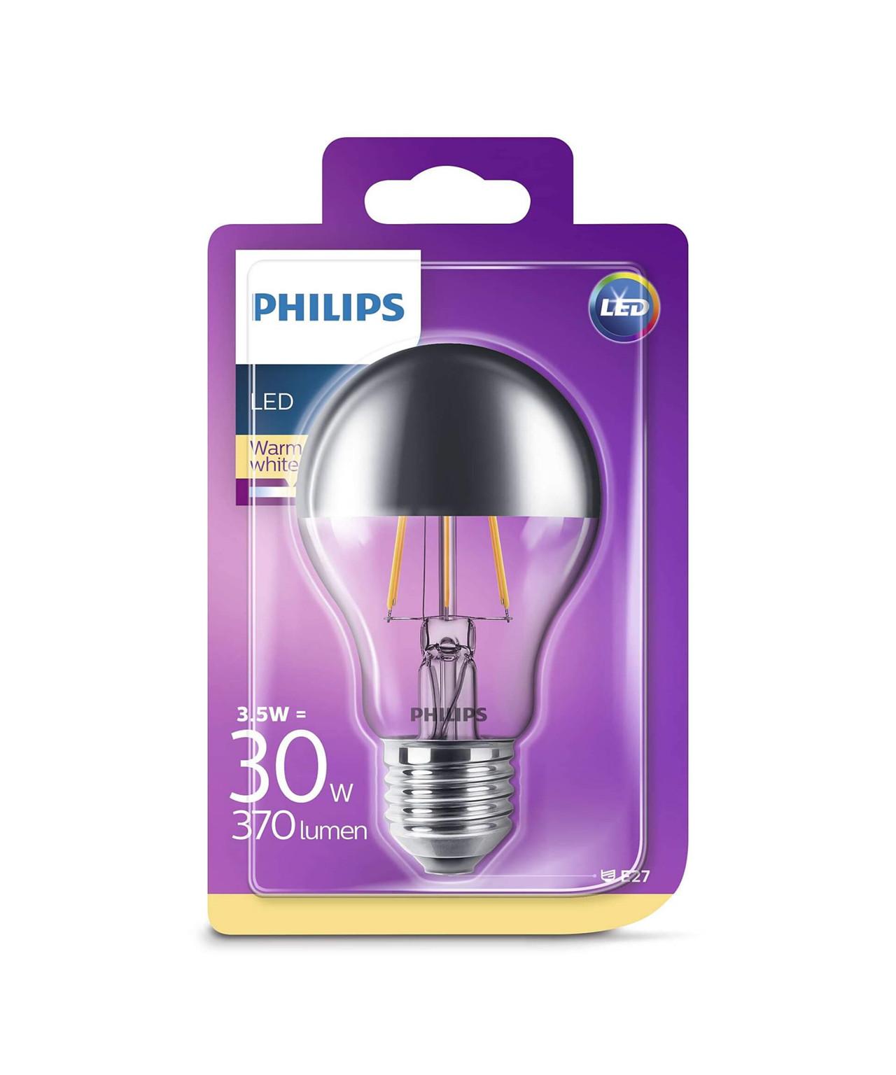 Pære LED 3,5W Filament Topforspejlet (370lm) E27 - Philips