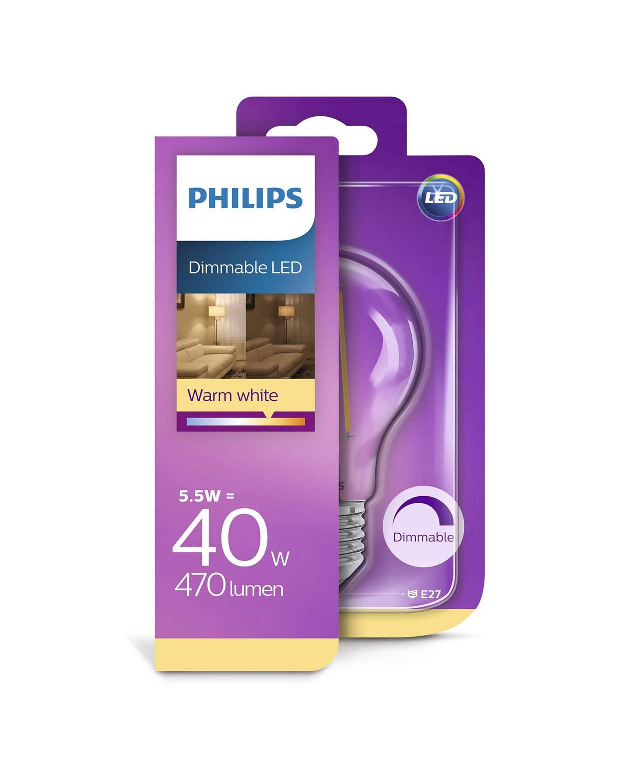Pære LED 5,5W Glas (470lm) Dæmpbar E27 - Philips
