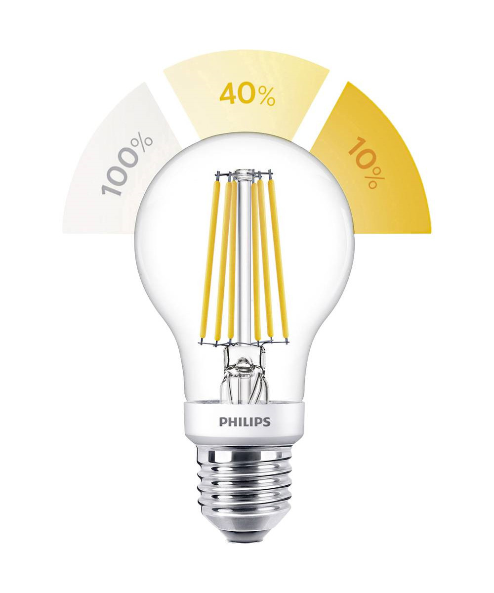 Pære LED 2-5-8W Sceneswitch (80/320/806lm) Filament E27 - Philips