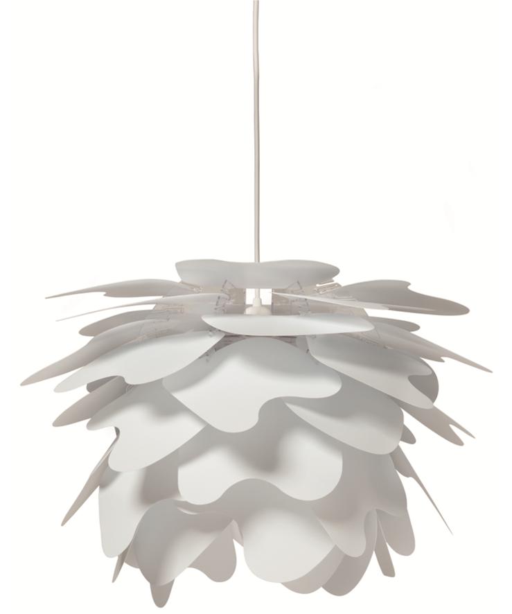 DesignFrank Kerdil for Dyberg Larsen Koncept Illumin Pendel i Cumulus udgaven er lampen for livet. Pendelen samles let på 11 minutter og giver glæden ved at skabe noget selv og præge sin indretning. Vælg selv hvordan ?sky? pladerne skal vende så udseendet kan skræddersyes yderligere. Ny spændende og fleksibel pendel, der også kan anvendes som gulvlampe eller til bordet. De overlappende skærme er med til at give et diffust og behageligt lys.