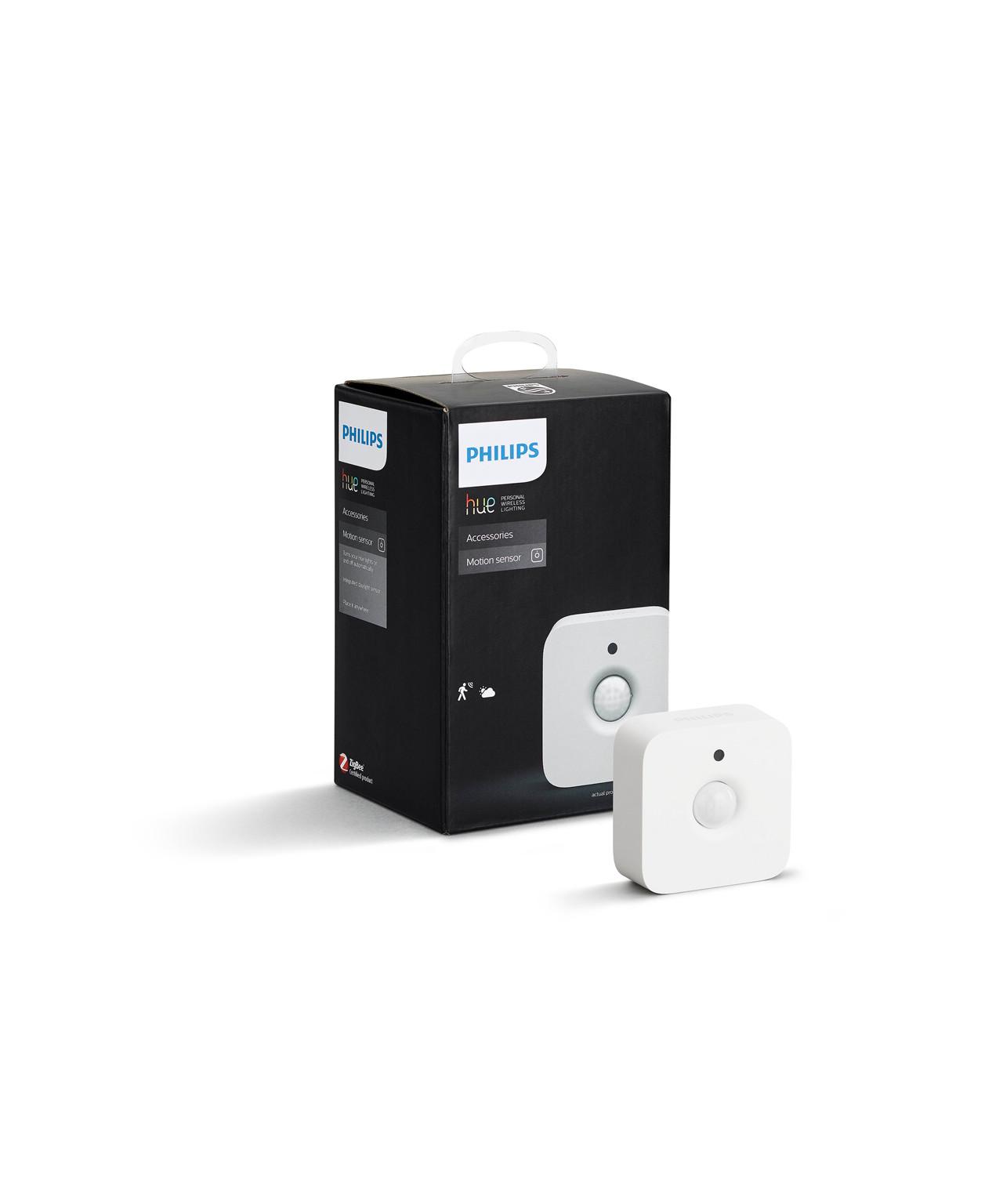 ProducentPhilips  Koncept ? Ledning: Bruger ej ledning, men 2xAAA batteri (medfølger)  ? IP42 ? Rækkevidde 5 meter ? 100 graders vinkel ? Batteri levetid 2-3 år Sensoren bruger 2 x AAA batterier (medfølger) og holder strøm i ca. 2 år - Hvilket giver mulighed for montering utallige steder. Sensoren er dog ikke beregnet til udendørs brug.  Sensorens sokkel monteres med en lille skrue på væggen eller loftet og sensoren sættes så fast på denne sokkel med magnet. Sensoren kan sidde på utallige vinkler takket være den trinløse mulighed for at vinkle sensoren på soklen.  OBS: Kræver en Hue Bridge.  - Kan ikke bruges i