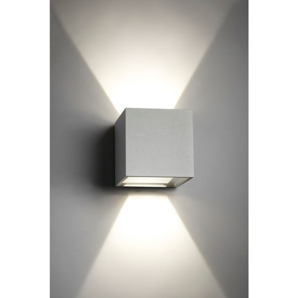 Cube XL LED Udendørs Væglampe Up/Down Sølv - LIGHT-POINT